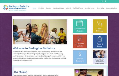 Burlington Pediatrics website