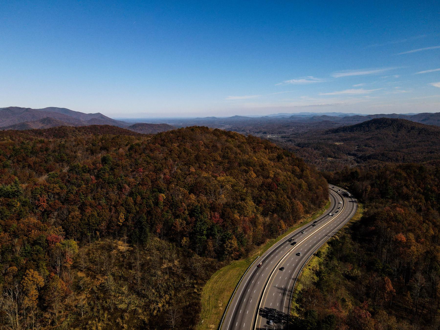 Interstate 40 winding through Black Mountain in North Carolina
