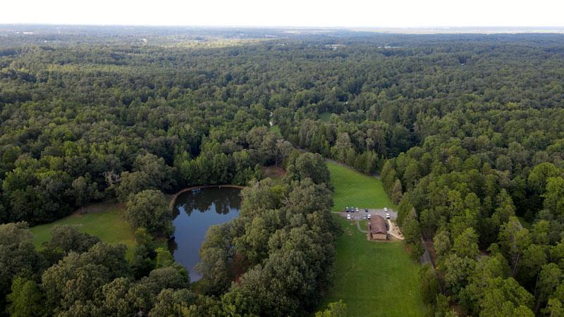 aerial drone flying over Cedar Rock Park