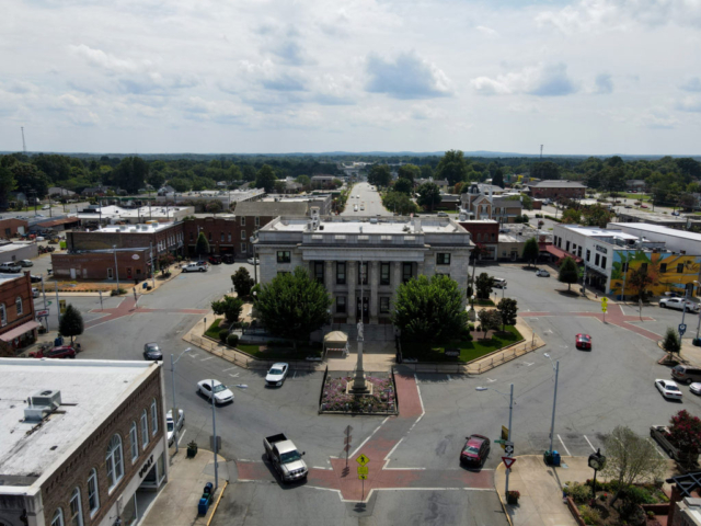 Court square in downtown Graham, NC