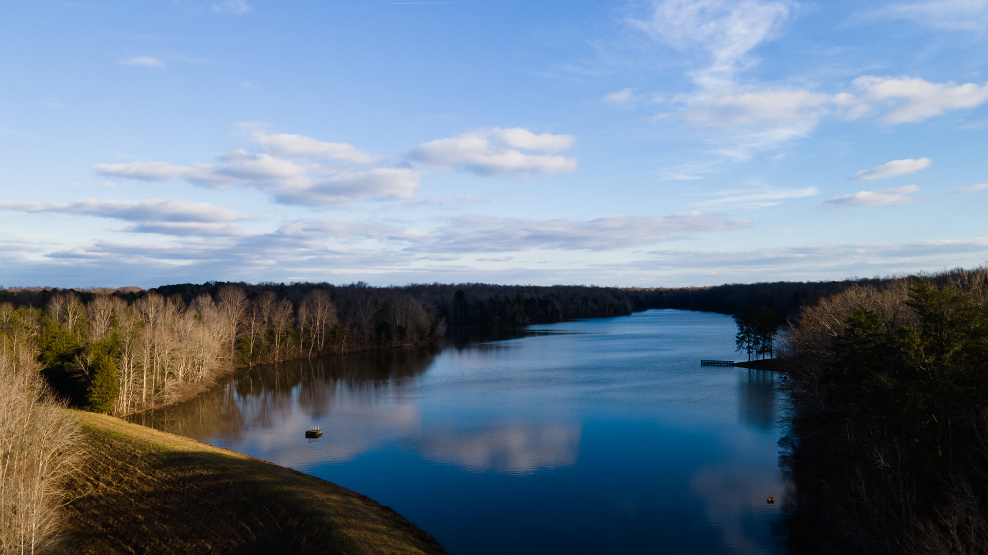 Lake Michael on a winter's day in Mebane, NC