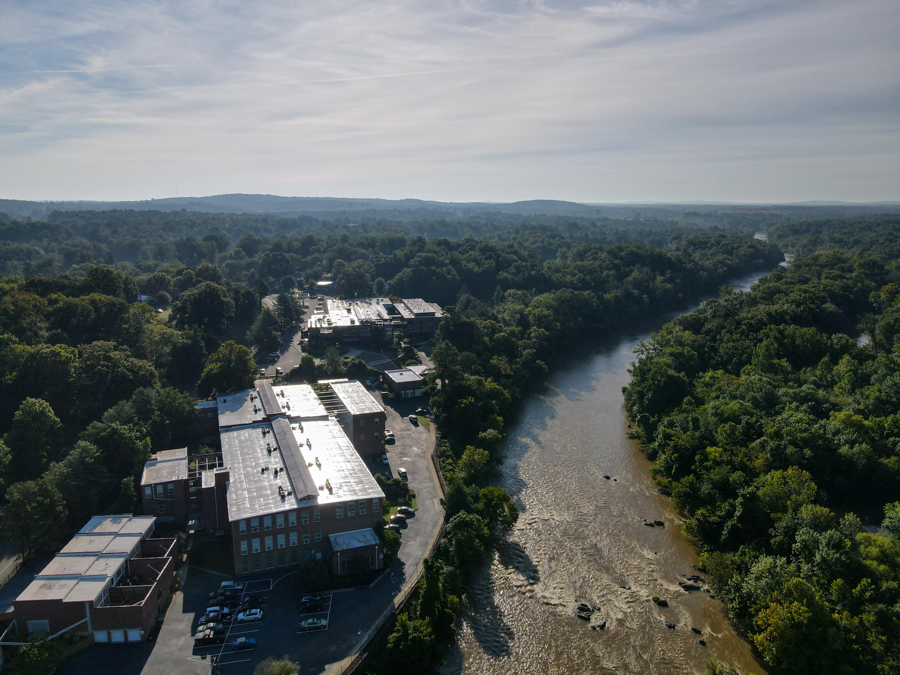 The Haw River flowing through Saxapahaw, North Carolina