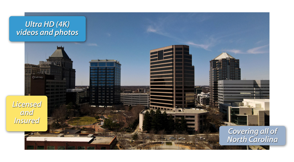 aerial photography of downtown Greensboro NC